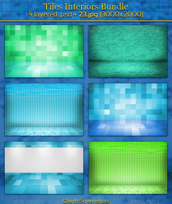 Tiles Interiors Bundle - 3D Backgrounds