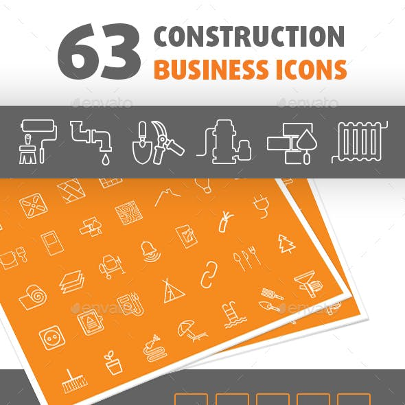 63 Construction Business Icon Set