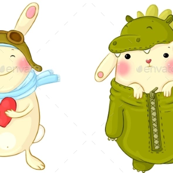Cute Bunnies In Fancy Dress.