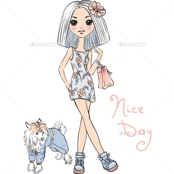 Fashion Girl with Dog