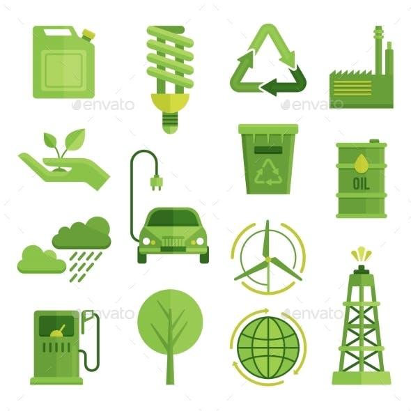 Ecology Decorative Flat Icons Set