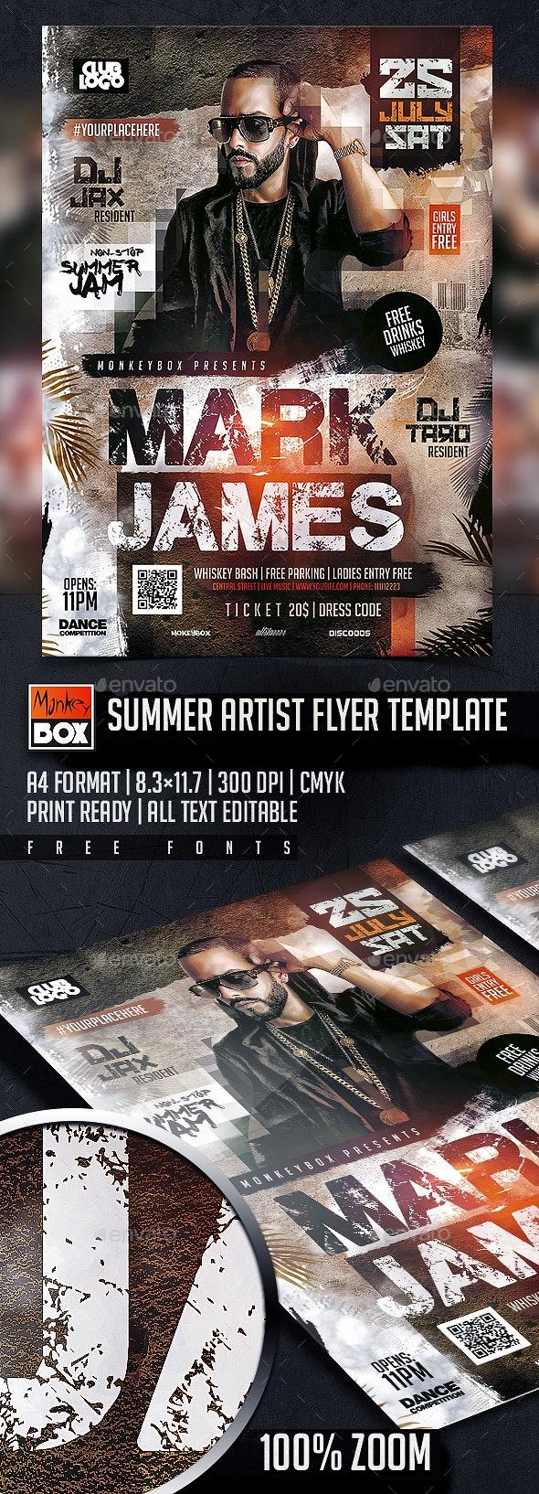 Summer Artist Flyer Template - Flyers Print Templates