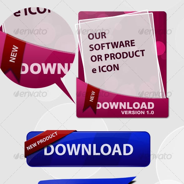 Download Box, Button and Flag