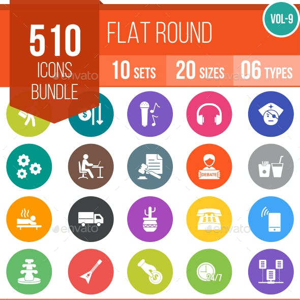 510 Vector Colorful Round Flat Icons Bundle (Vol-9)