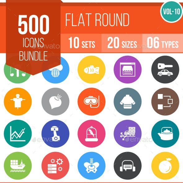 500 Vector Colorful Round Flat Icons Bundle (Vol-10)