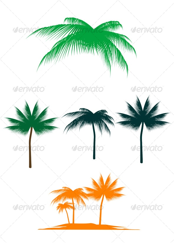 Palm tree set - Flowers & Plants Nature