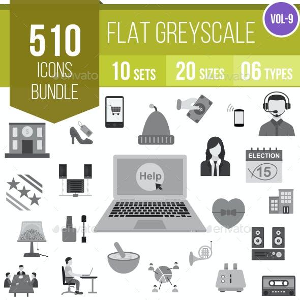 510 Vector Greyscale Flat Icons Bundle (Vol-9)