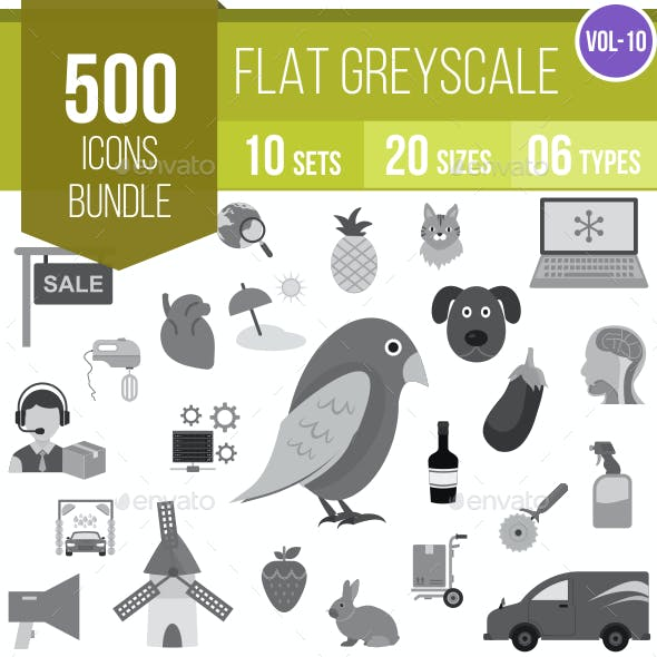500 Vector Greyscale Flat Icons Bundle (Vol-10)