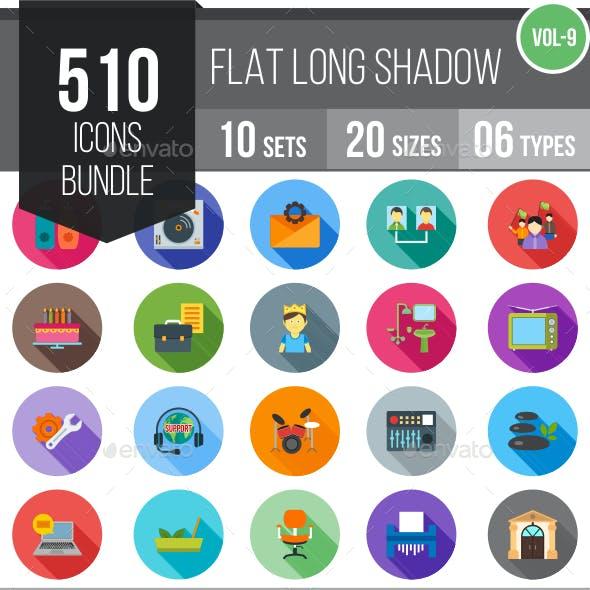 510 Vector Long Shadow Colorful Flat Icons Bundle (Vol-9)