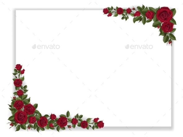 White Paper Sheet Decorated Red Roses - Flowers & Plants Nature