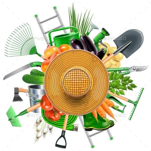 Garden Accessories with Sun Hat