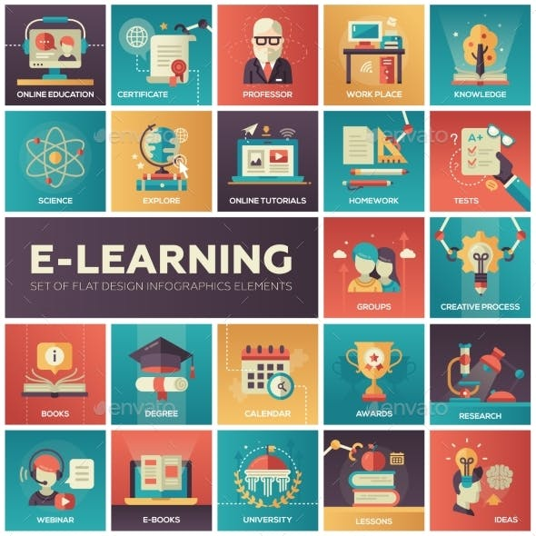E-learning - Modern Flat Design Isquare Icons
