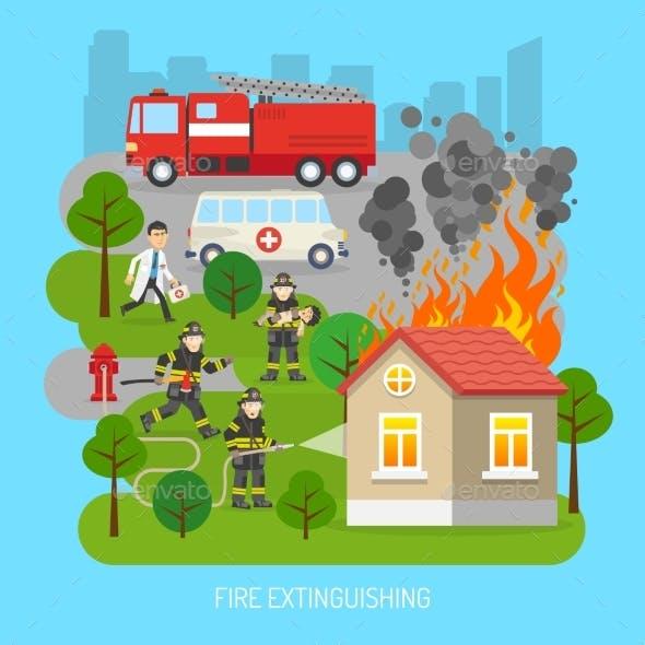 Firemen at Work Concept Flat Poster