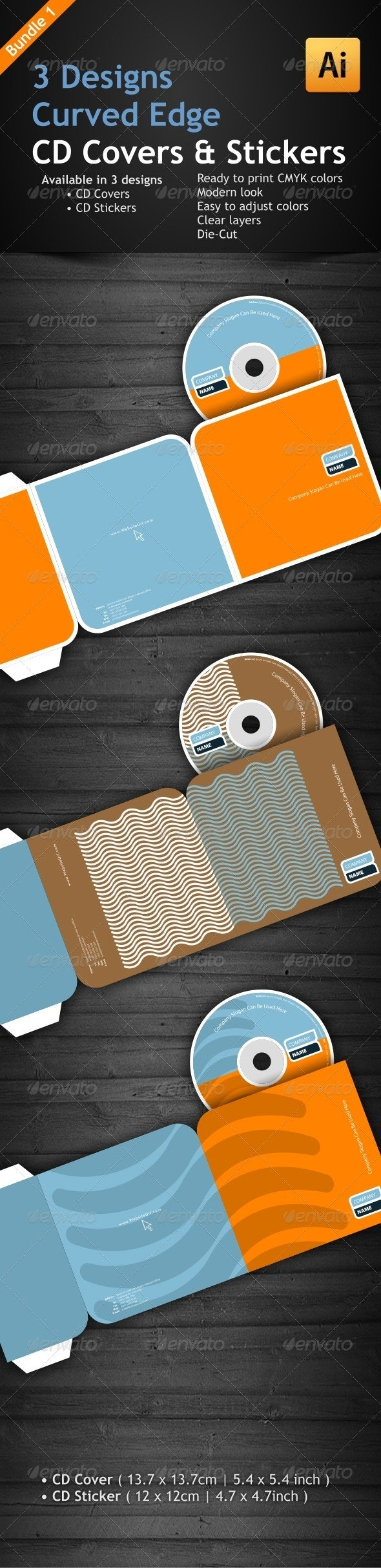 3 Curved Edge Designs for CD Covers & Stickers - CD & DVD Artwork Print Templates