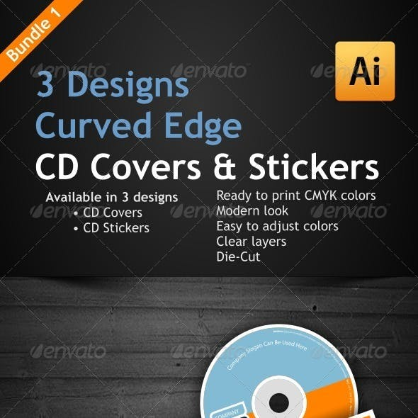 3 Curved Edge Designs for CD Covers & Stickers