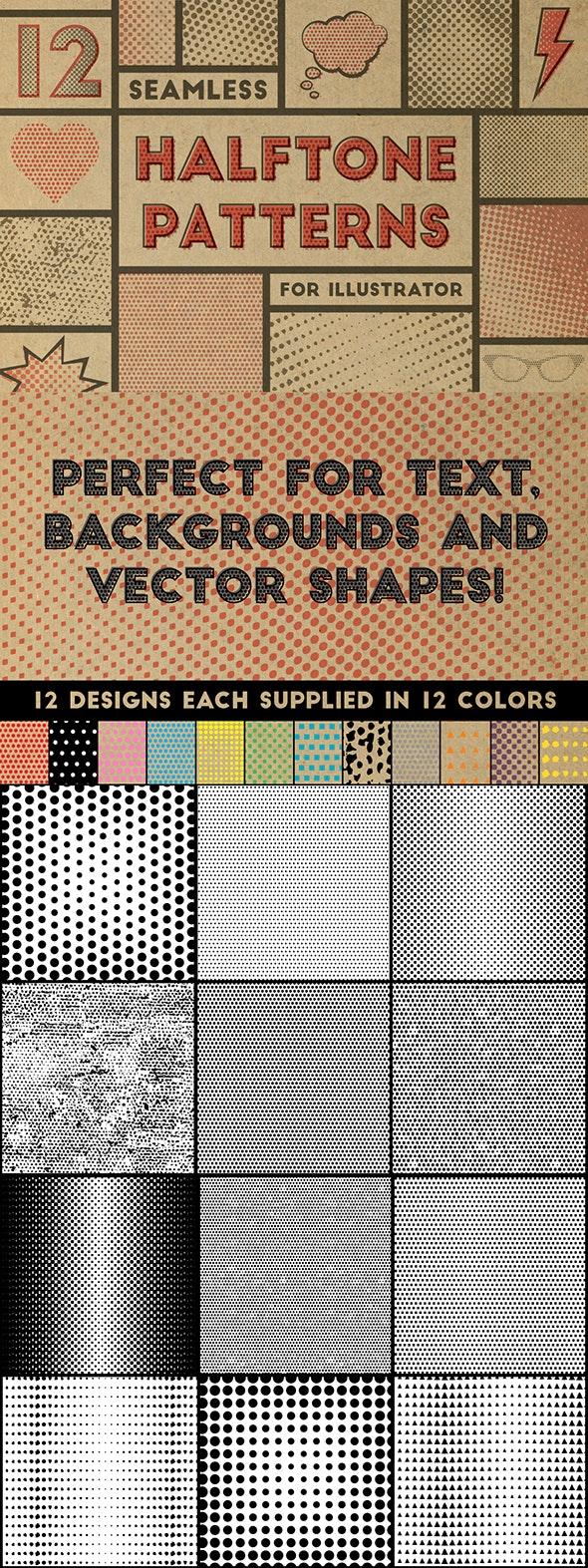 Halftone Patterns - Textures / Fills / Patterns Illustrator