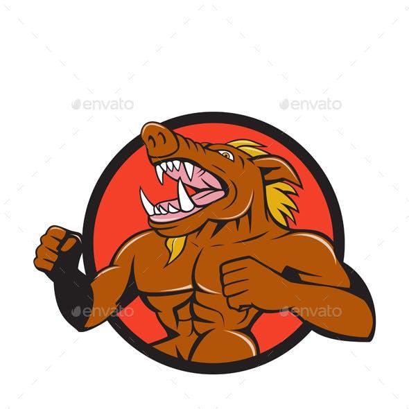Wild Boar Man Roaring Pumping Chest Circle Cartoon