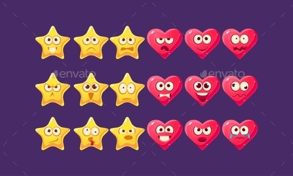 Stars and Hearts Emoji Character Set - Web Technology