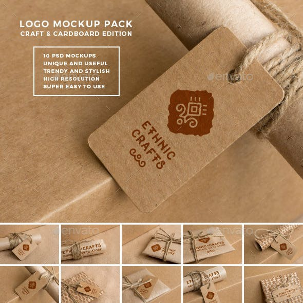 Logo Mockup Pack. Craft and Cardboard Edition