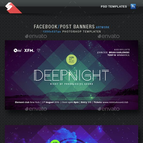 Electronic Music Party Vol2 - Facebook Post Banner Templates
