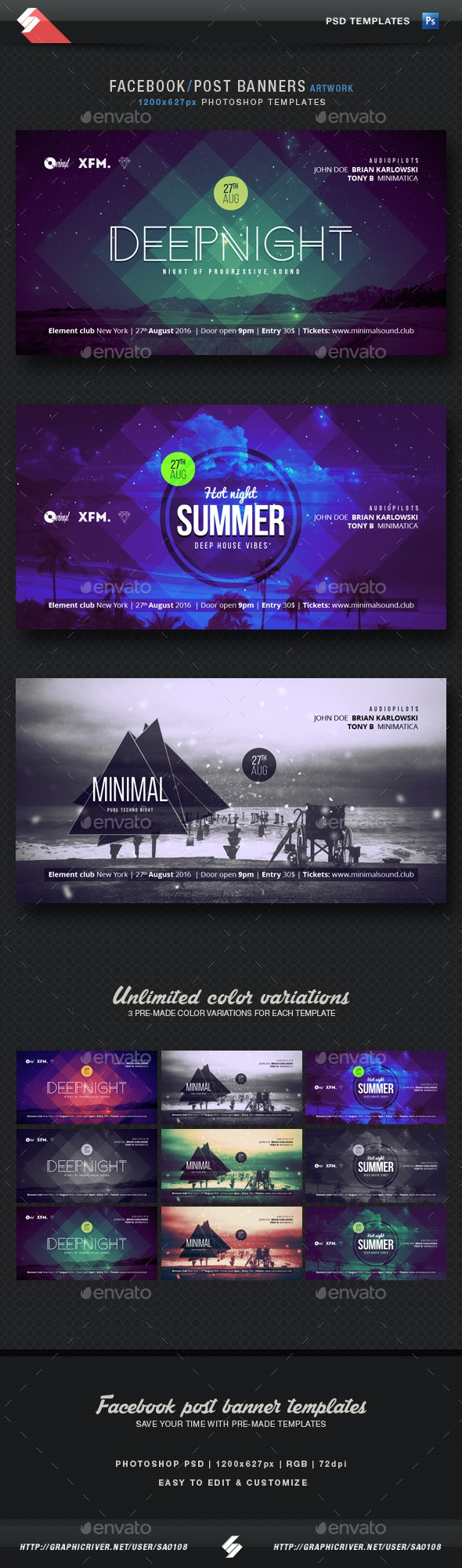 Electronic Music Party Vol2 - Facebook Post Banner Templates - Social Media Web Elements