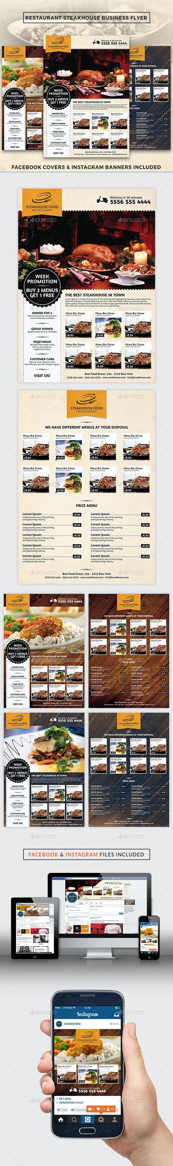 Restaurant SteakHouse Advertising Business Flyer - Restaurant Flyers