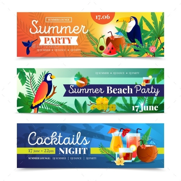 Tropical Cocktail Beach Party Banners Set  - Patterns Decorative