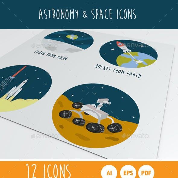 Astronomy & Space Cartoon Icons
