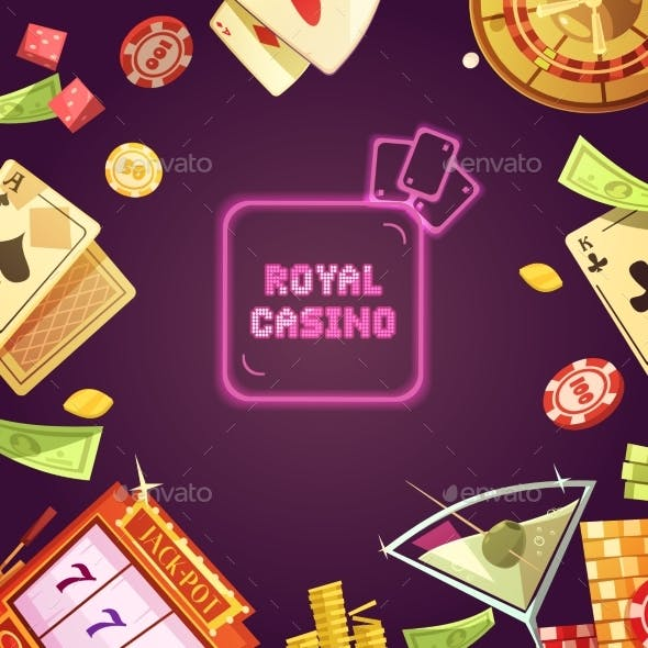 Royal Casino Retro Cartoon Illustration