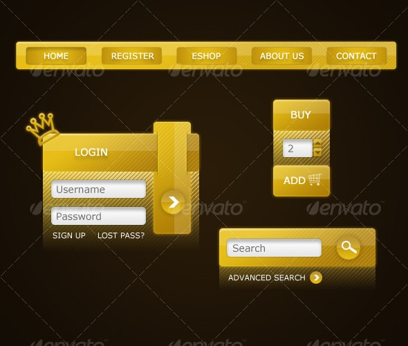 Royal Gold Graphic set - Web Elements