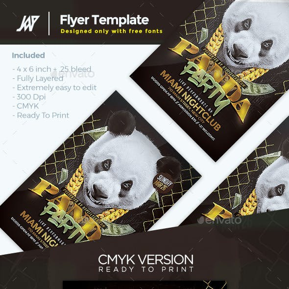 Panda Party Flyer Template