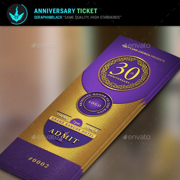 Gold and Violet Church Anniversary Ticket Template