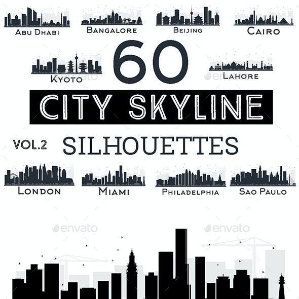 60 City Skyline Silhouettes Set 2