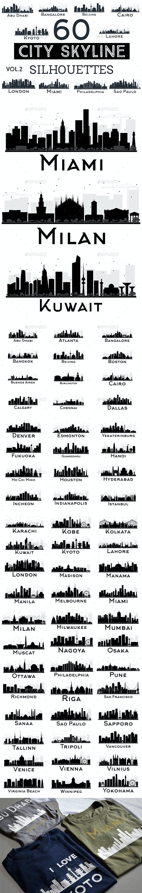 60 City Skyline Silhouettes Set 2 - Buildings Objects