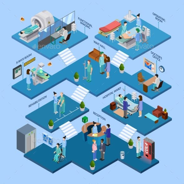 Hospital Structure Isometric Concept