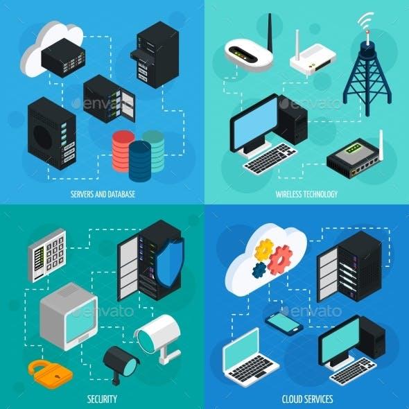 Data Center 2X2 Isometric Icons Set