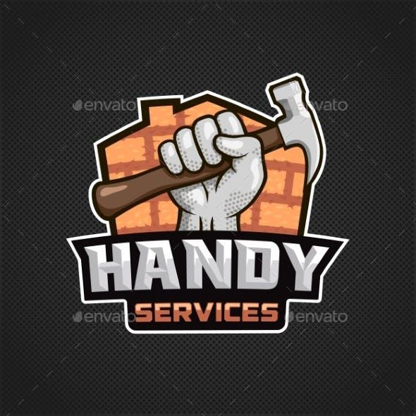 Handy Services Logo Hand Hammer