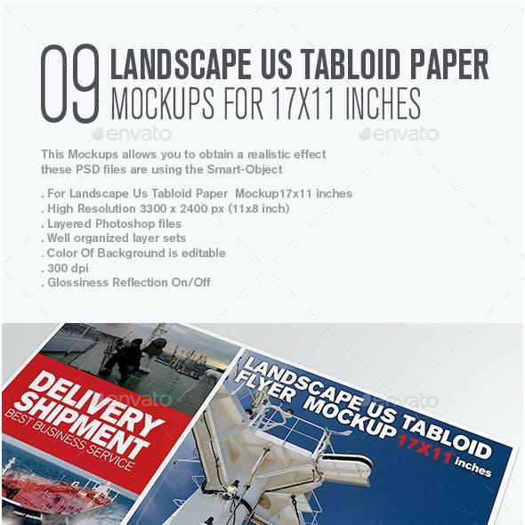 Landscape Us Tabloid Flyer  Mockup