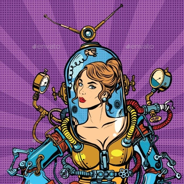 Futuristic Girl in a Sexy Space Suit