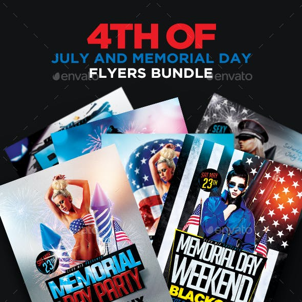4th Of July and Memorial Day Flyers Bundle PSD