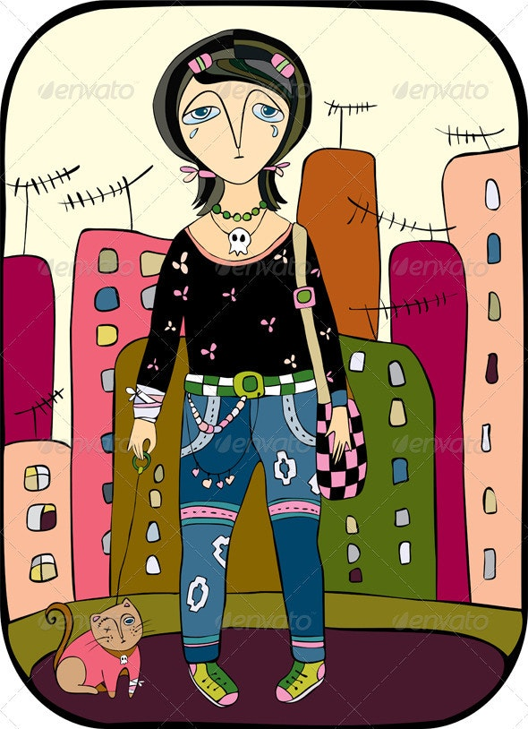 Girl Emo City Cat - People Characters