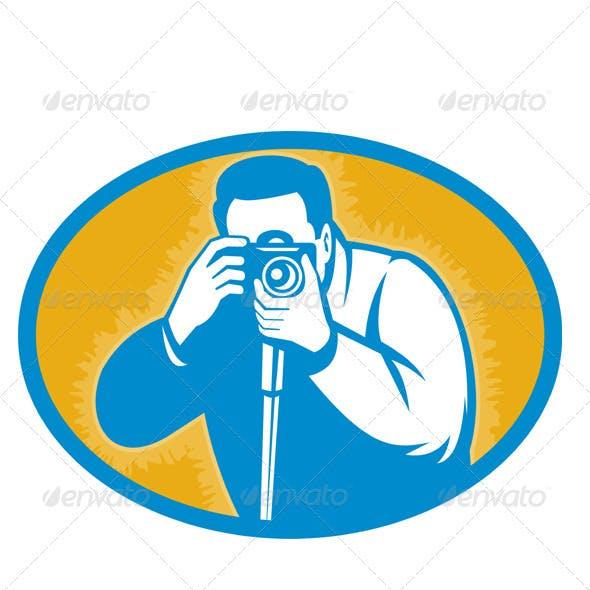 Photographer Shooting DSLR Camera Retro Style