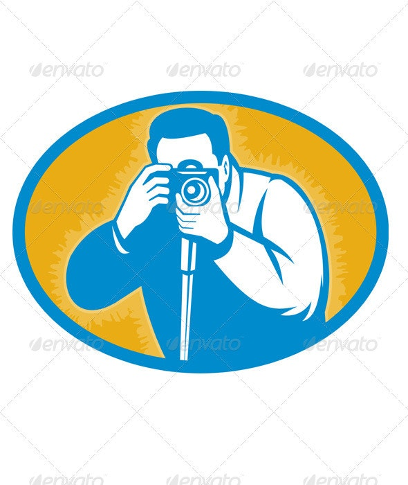 Photographer Shooting DSLR Camera Retro Style - People Characters