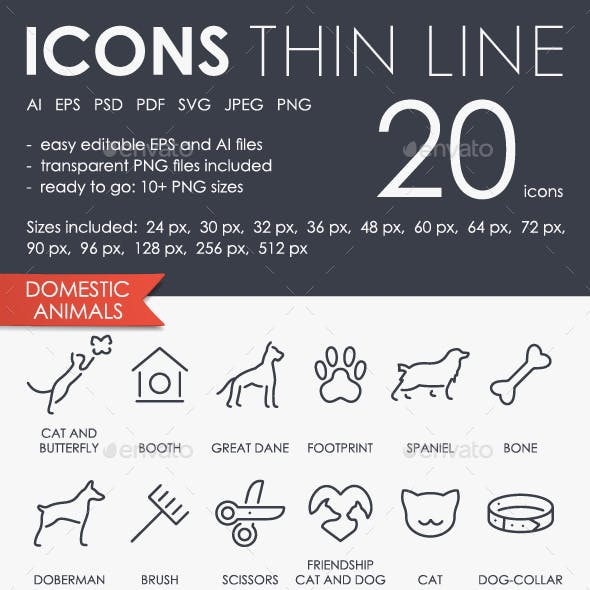 Domestic animals thinline icons