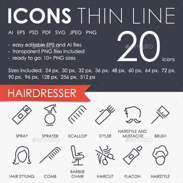 Hairdresser thinline icons