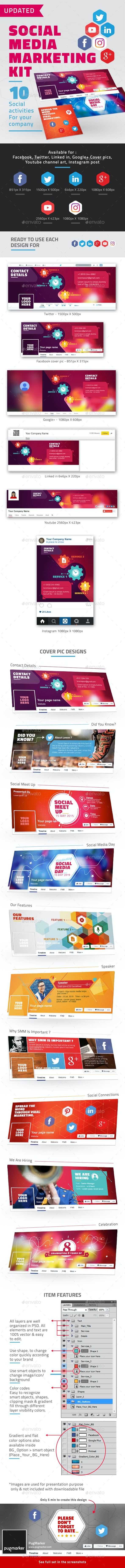 Facebook Cover and Social Media Marketing Kit - Social Media Web Elements