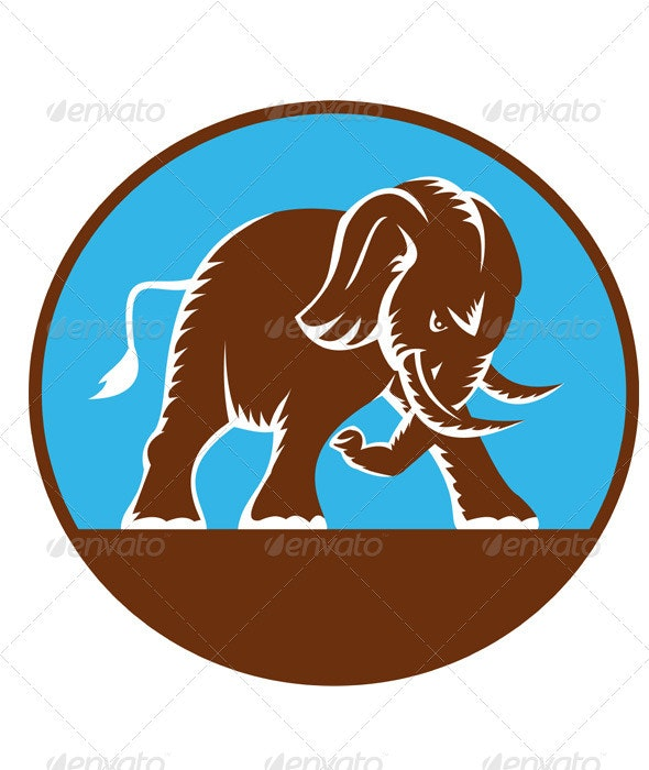 Angry African Elephant Charging Retro - Animals Characters