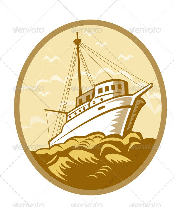 Commercial Fishing Boat Ship Sea Woodcut - Travel Conceptual