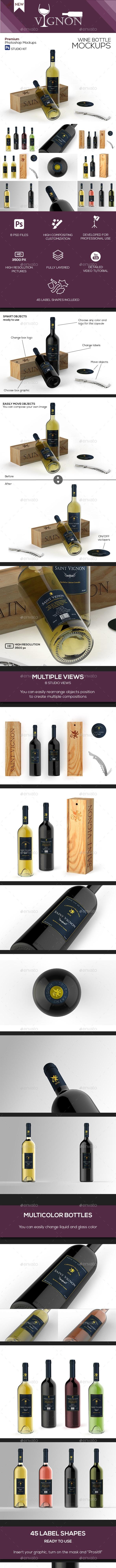 Vignon - Wine Mockup Studio Kit - Food and Drink Packaging