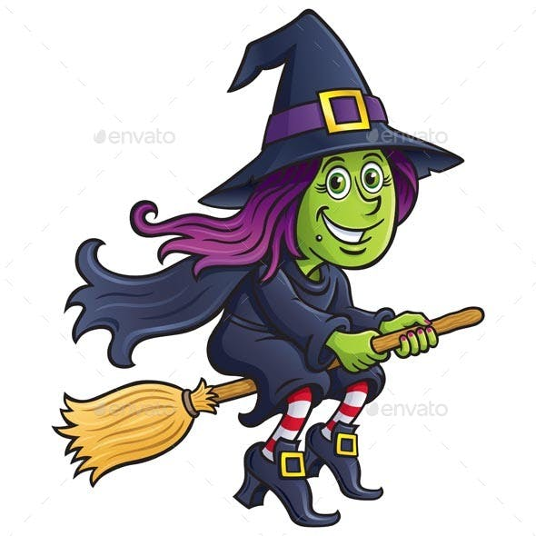 Girl Witch Riding A Broom